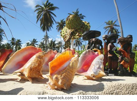 Local Souvenirs on display at the beach in Punta Cana