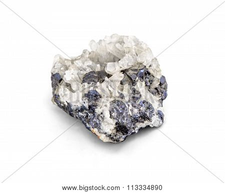 Galena Metallic Ore Mineral Sample A Rare Earth Mineral Of Zinc And Lead Isolated On White With Clip