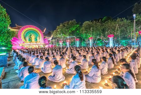 Buddhists female oriented festival stage chickened Buddha Amitabha
