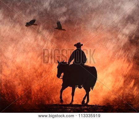 A black silhouette of a cowboy rides into the fire on his horse with black birds flying above. poster