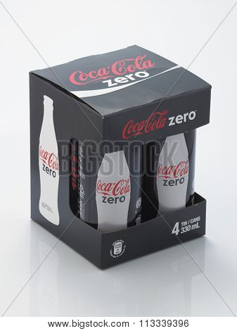 Kuala Lumpur Malaysia December 28, 2015,new slim and tall design of cocacola zero cans in a box