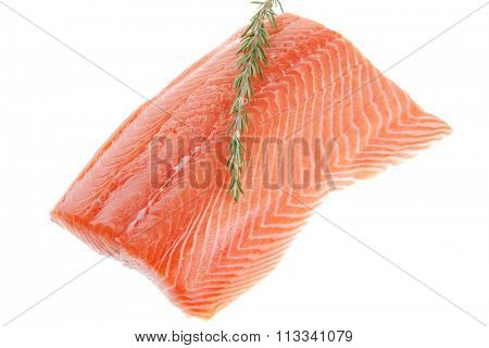 raw big salmon bar and rosemary over white background