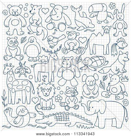 Children  animal  toys set on squared background