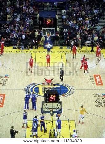 Teams Warm-up At Half Time By Taking Shoots At The Basket
