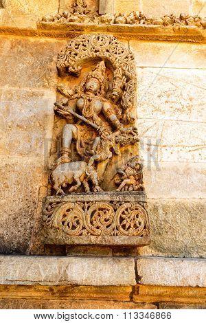 Artistic statue of Goddess Parvati at Chennakesava temple at Belur captured on December 30th, 2015