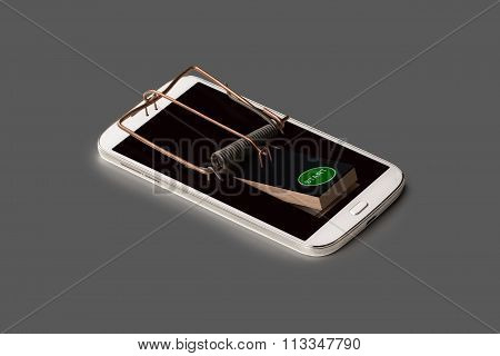 A Smartphone Symbolically As Mousetrap With Trigger
