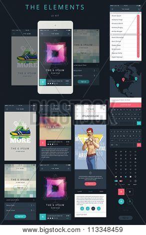 Phone GUI Template. Wireframe UI Kit.