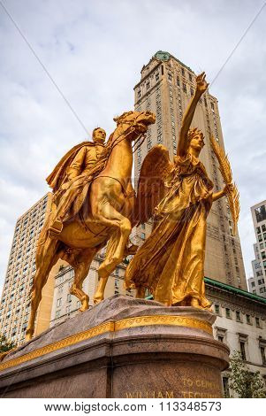 NEW YORK CITY - OCTOBER 14, 2015: golden equestrian statue of William Tecumseh Sherman. It was designed by Augustus Saint-Gaudens and is located at Grand Army Plaza at southeast corner of Central Park