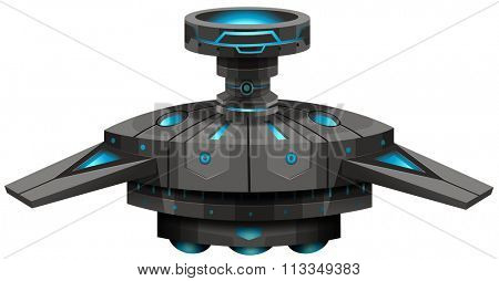 Black spaceship with wings illustration