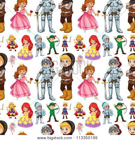 Seamless fairytales characters with prince and princess illustration