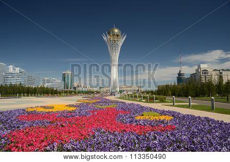 Bayterek Tower In Astana. Symbol Of Kazakhstan