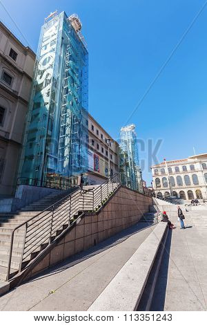 MADRID, SPAIN - MARCH 16, 2015: Musem Reina Sofia with unidentified people. The It is Spains national museum of 20th-century art. It was officially inaugurated 1992 and is named for Queen Sof�a