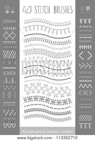 40 Seamless White Stitch Brushes.