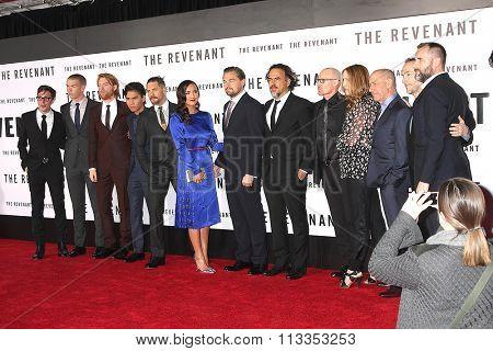LOS ANGELES - DEC 16:  Revenant Cast, Leonardo DiCaprio, Tom Hardy at the