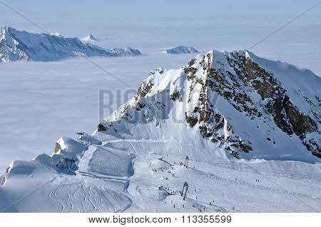 Ski Slopes In The Alps