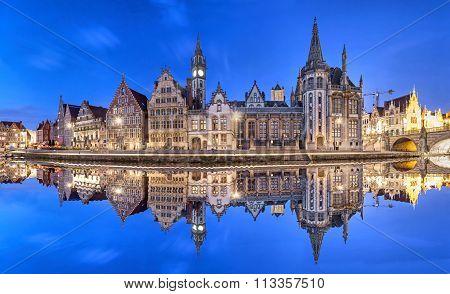 Ghent Skyline Reflecting In Water, Belgium