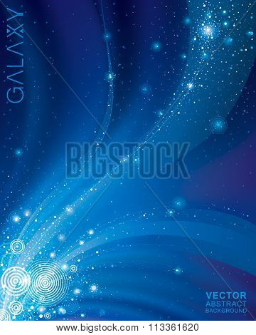 Abstract galaxy dark blue background.