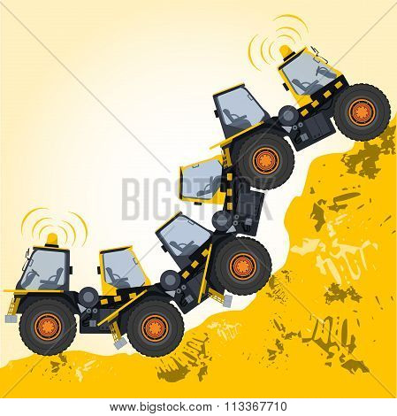 Bizarre machine robot build from ground works