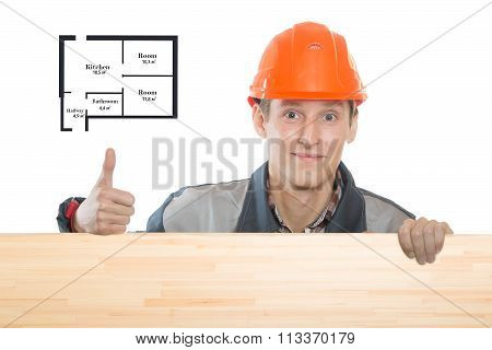 Builder Holding A Sign For Your Text