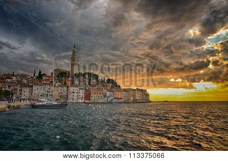 Port Of Rovinj In The Summer Cloudy Evening In Croatia