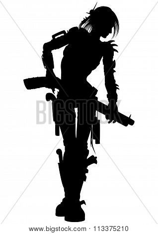 Post Apocalyptic Raider Woman Silhouette