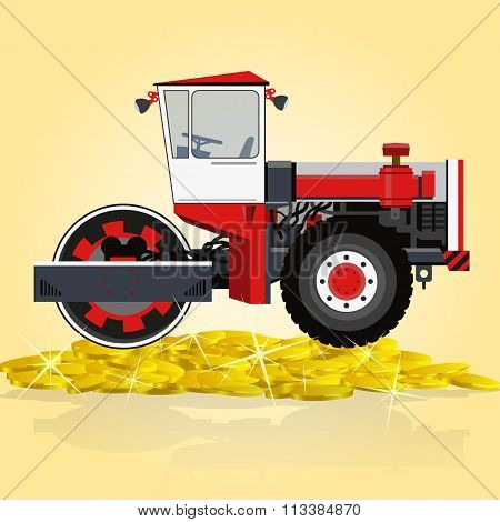 Yellow big roller builds roads. Rolling of coins.