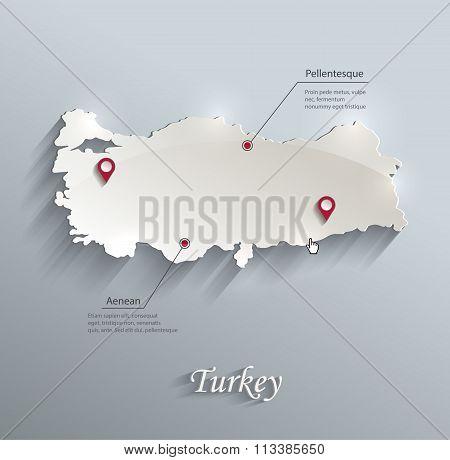 Turkey Map Blue White Card Paper 3D Vector