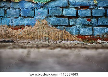 Old Muddy Brick Wall
