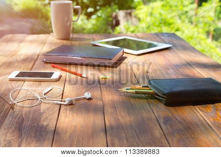 Wood desk and electronic gadgets