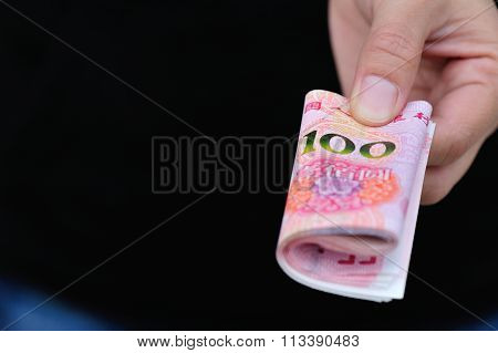 young woman with cny cash in hands