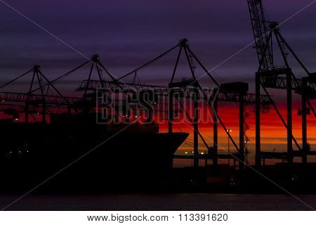Container Cargo Ship Silhouette