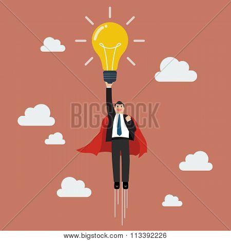 Businessman Superhero Holding Creative Lightbulb