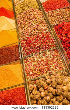 flower teas and oriental spices at the spice bazaar in Istanbul, Turkey