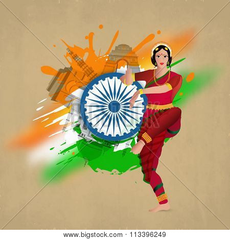 Beautiful young girl in classical dancing pose with Ashoka Wheel on tricolour splash and famous monuments decorated background for Happy Indian Republic Day celebration.