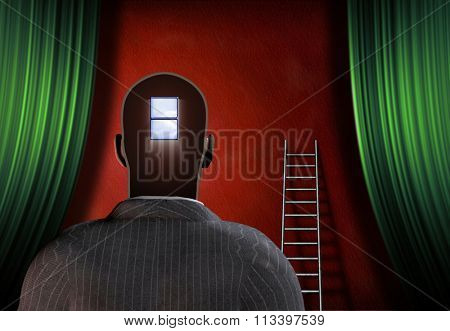 Man with window mind