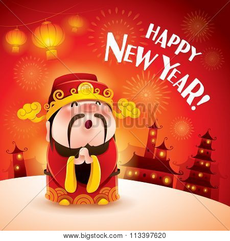 Happy New Year! Chinese God of Wealth. Gong xi Gong xi. Translation: Good fortune.