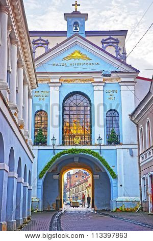 Vilnius, Lithuania - January 2, 2012: Gate of Dawn in the Old Town of Vilnius in Lithuania at Christmas