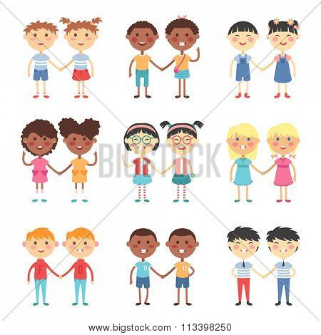 Vector cute cartoon twins brothers and sisters. Twin kids isolated. Small twin kids, children twin couples. Kids posing. Twin children vector people isolated. Twin kids holding hands