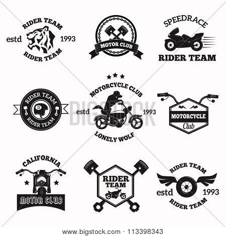 Bikers badges emblems vector icons. Bikers club logo icon. Motorcycle vector logo set collection. Vector biker club sign. Moto bike club bikers badge, logo, stamp. Vintage bikers vector logo icon
