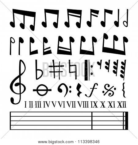 Music note black silhouette vector icons collection. Music notes black vector. Music notes silhouette. Music vector notes set. Music sign, music notes vector symbols