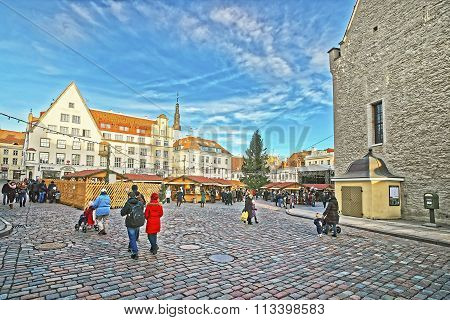 TALLINN ESTONIA - DECEMBER 28 2011: Christmas market in the Town Hall square in the Old city of Tallinn in Estonia