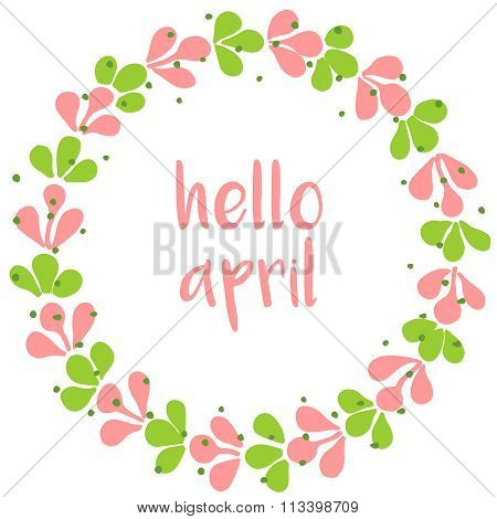 Hello april spring watercolor vector wreath card