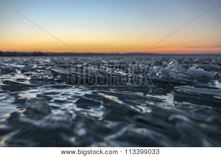 the frozen waves at sunset