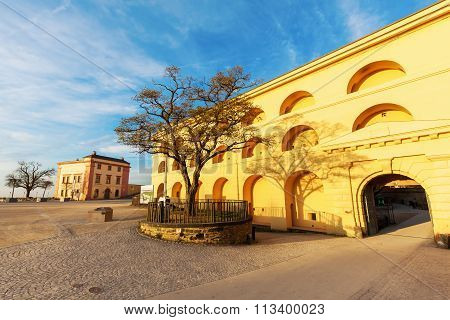 KOBLENZ, GERMANY - NOVEMBER 03,2015: Ehrenbreitstein Fortress in Koblenz. Its a fortress on the same named mountain. Since 2002 it has been part of UNESCO World Heritage Site Upper Middle Rhine Valley