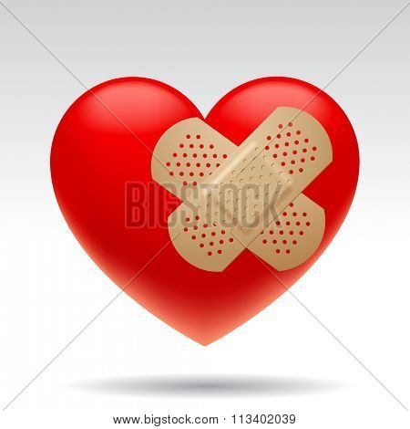 Three dimensional wounded red heart with medical patches isolated on white background. Vector illustration