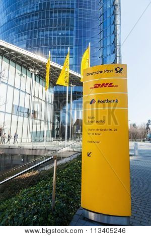 BONN, GERMANY - JANUARY 31: Deutsche Post Tower on January 31, 2014 in Bonn. The Deutsche Post is the world's largest courier company and the tower is with 162,5 meters the 11th largest in Germany.