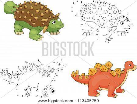 Cartoon Ankylosaurus And Stegosaurus. Vector Illustration. Dot To Dot Game For Kids