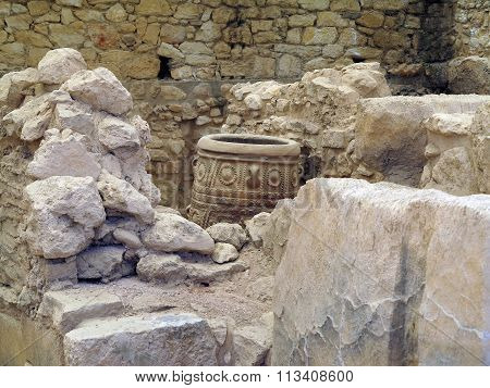 Crete, Greece. Archaeologist Excavating On Ancient Ruins Of Knossos Palace