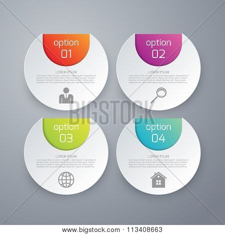 Vector illustration of four options infographics