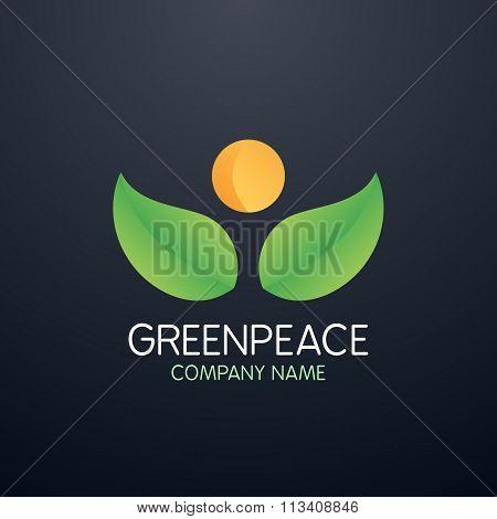Vector illustration logo greenpeace company